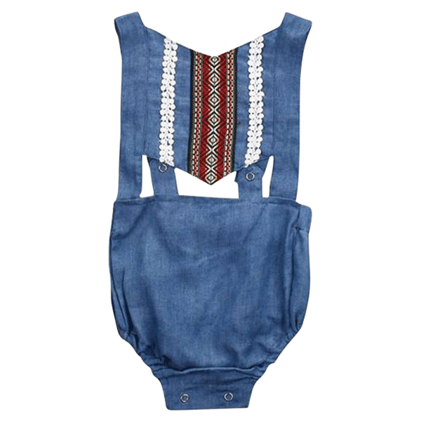 Petite Bello Playsuit 0-3 months Backless Denim Playsuit