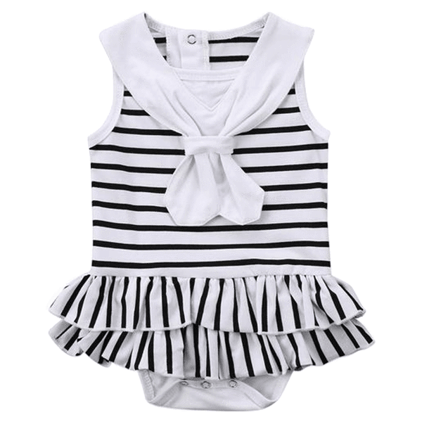 Petite Bello Playsuit 0-3 Months Navy Stripes Bow Playsuit