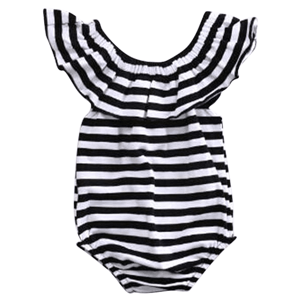 Petite Bello Playsuit 0-3 Months Striped Lotus Collar Playsuit