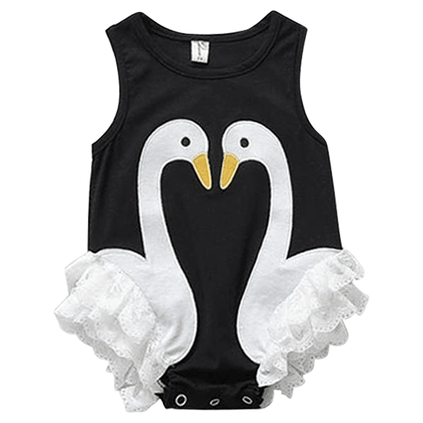 Petite Bello Playsuit 0-3 Months Swan Black Playsuit