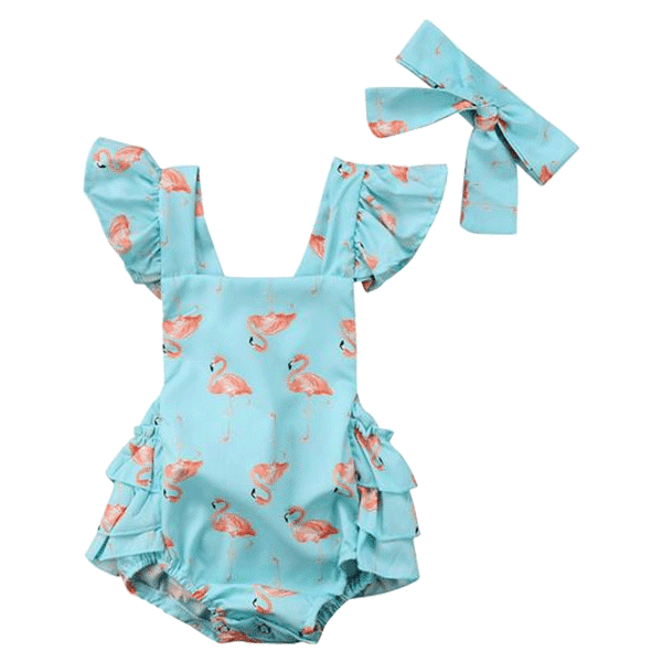 Petite Bello Playsuit 0-6 Months Flamingo Blue Playsuit