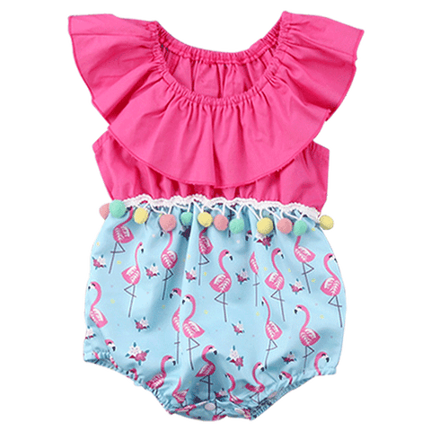 Petite Bello Playsuit 0-6 Months Flamingo Tassel Playsuit