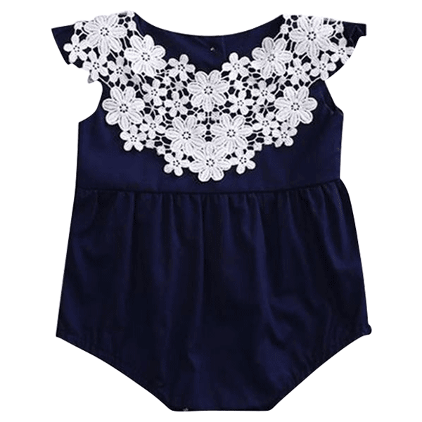 Petite Bello Playsuit 0-6 Months Floral Navy Blue Playsuit