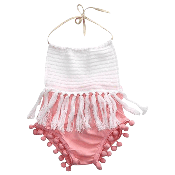 Petite Bello Playsuit 0-6 Months White & Pink Tassel Playsuit
