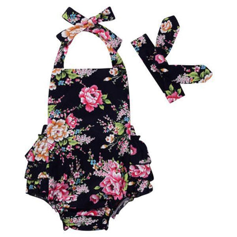 Petite Bello Playsuit Black / 0-6 Months Rose Floral Playsuit