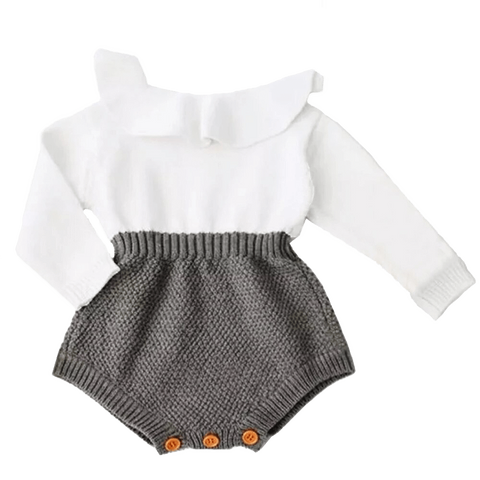 Petite Bello Playsuit Gray / 0-6 Months Knitted Longsleeves Playsuit