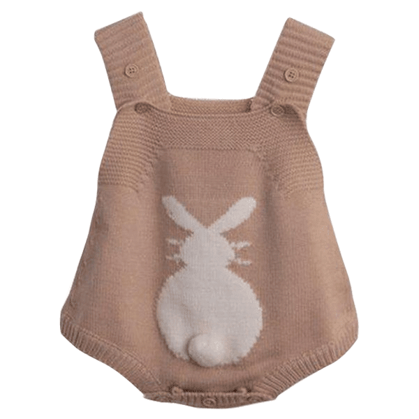 Petite Bello Playsuit Khaki / 6-9 Months Bunny Tail Knitted Playsuit