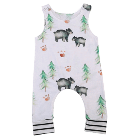 Petite Bello Romper 0-6 Months Bear & Trees White Romper