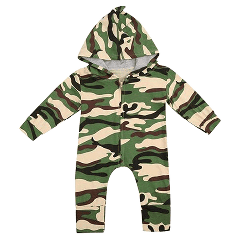 Petite Bello Romper 0-6 Months Camouflage Hooded Romper
