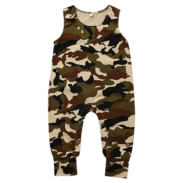 Petite Bello Romper 0-6 months Camouflage No Sleeve Romper