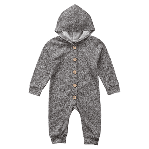 Petite Bello ROMPER 0-6 Months Gray Long Sleeve Hooded Romper