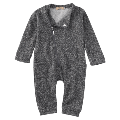 Petite Bello Romper 0-6 Months Grey Zipper Romper