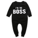 Petite Bello Romper 0-6 months I'm the Boss Black Romper