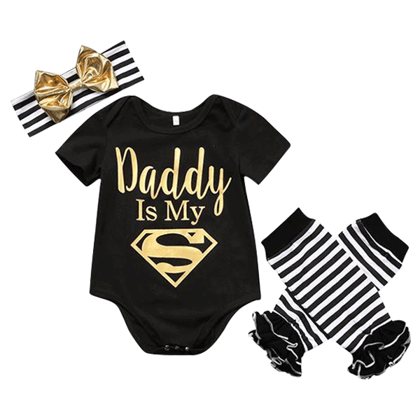 Petite Bello Romper 3-6 Months Daddy is My Superhero Clothing Set