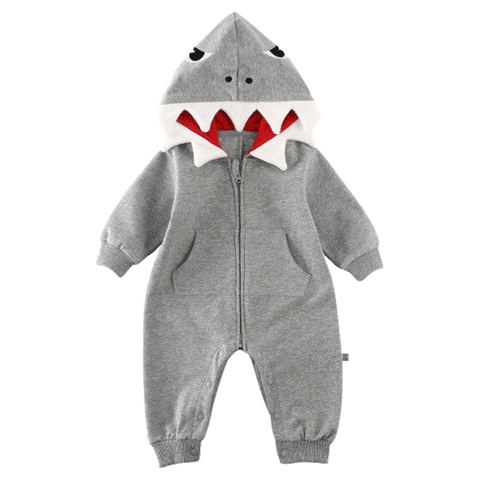 Petite Bello ROMPER Grey / 0-6 Months 3D Shark Hooded Romper