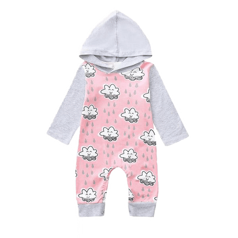 Petite Bello Romper Pink / 18-24 Months Hooded Clouds Raining Romper