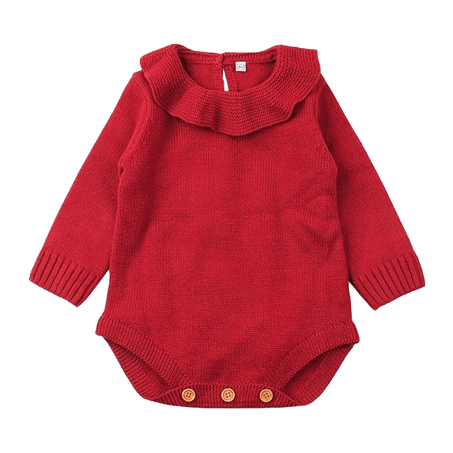 Petite Bello Romper Red / 0-6 Months Warm Knitted Woolen Sweater
