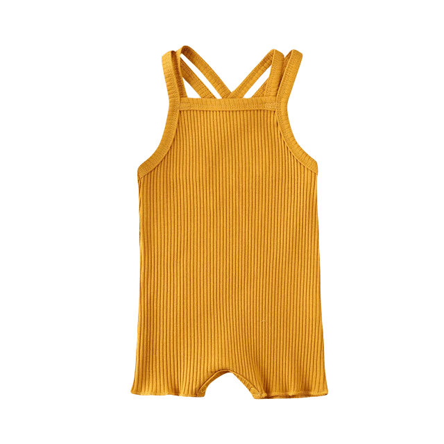 Petite Bello Romper Yellow / 12-18 Months Ribbed Solid Romper