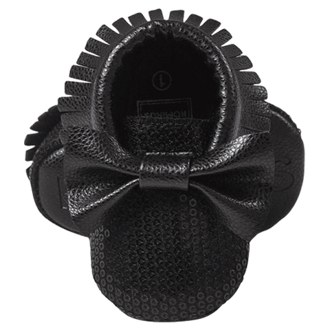 Petite Bello SHOES 0-6 Months Black Bow Moccasins