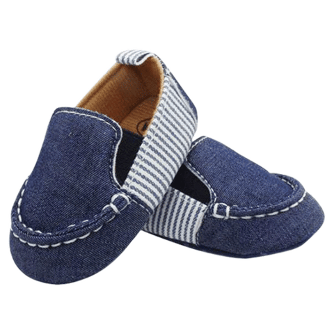 Petite Bello Shoes 0-6 Months Denim Striped Shoes