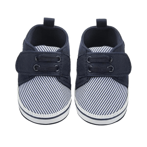 Petite Bello Shoes Navy Blue / 0-6 Months Soft Striped Boys Shoes