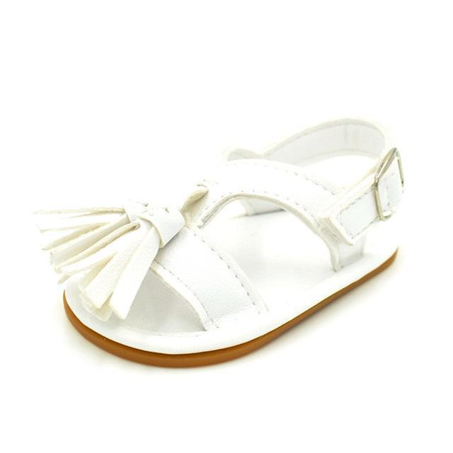 Petite Bello Shoes White / 0-6 Months Petite Tassel Sandals
