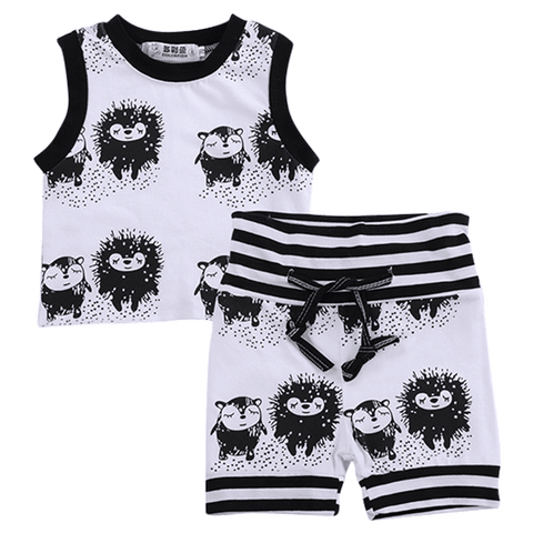 Petite Bello Summer Set 0-6 Months Black & White Animal Summer Set