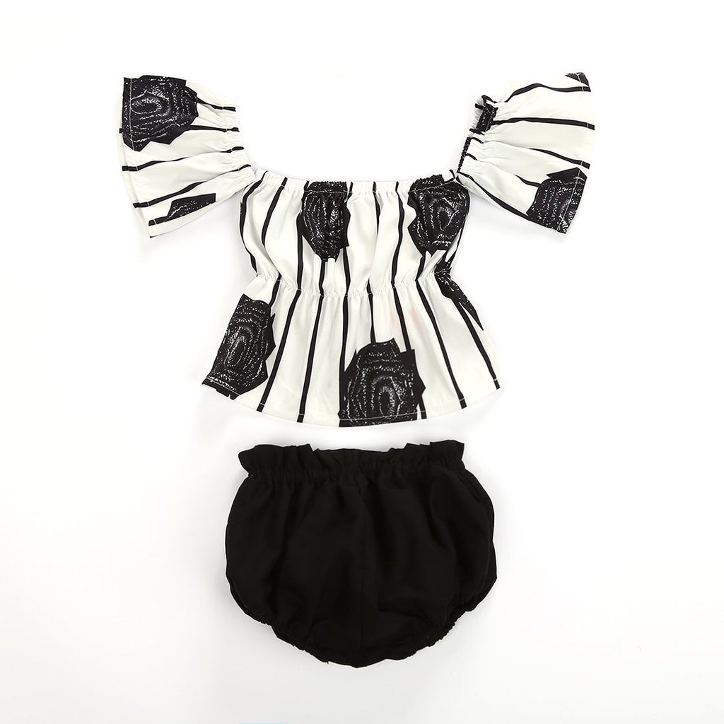 Petite Bello Summer Set 0-6 Months Black & White Floral Summer Set