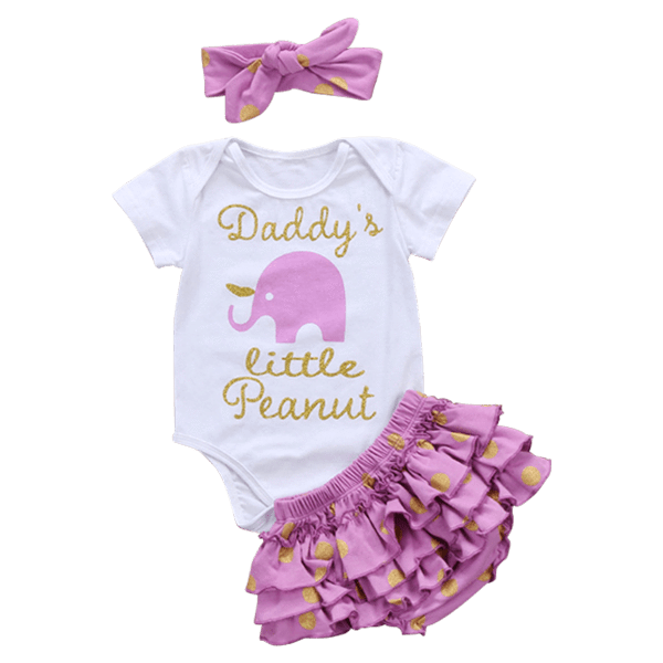 Petite Bello Summer Set 0-6 Months Daddy's Little Peanut 3pcs Summer Set