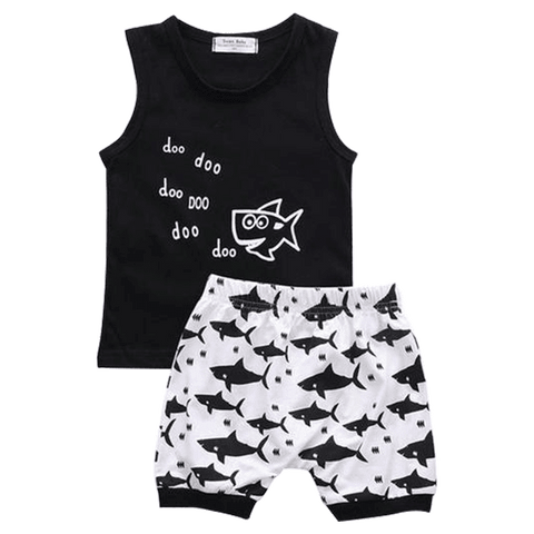 Petite Bello Summer Set 0-6 Months Little Shark Summer Set