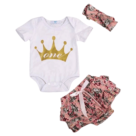 Petite Bello Summer Set 0-6 Months One Crown 3pcs Summer Set