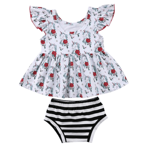 Petite Bello Summer Set 0-6 Months Rosa Floral Unicorn Summer Set