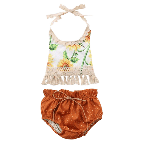 Petite Bello Summer set 0-6 Months Sunflower Lace Summer Set