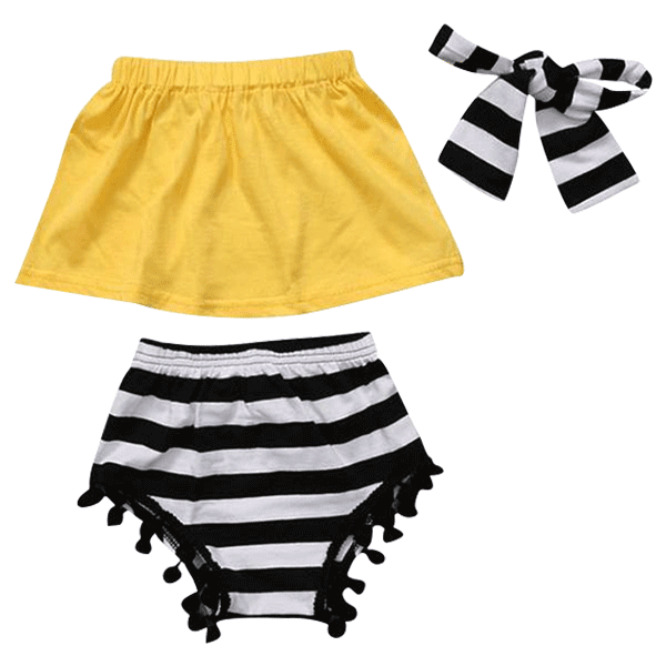 Petite Bello Summer set 1-2T Yellow And Black stripes 3pcs Summer Set