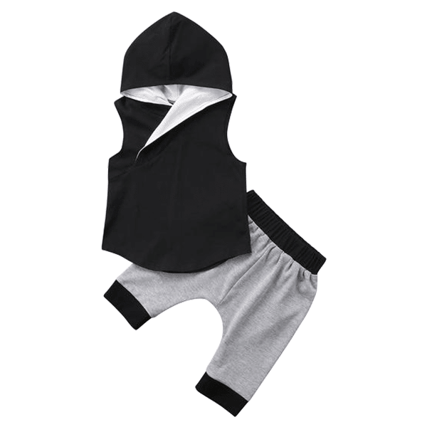 Petite Bello Summer Set 6-12 Months Black Hooded Summer Set