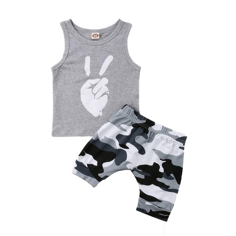 Petite Bello Summer Set 6-12 Months Peace Camouflage Summer Set