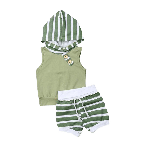 Petite Bello Summer Set Mint Green / 0-6 Months Striped Hoodie Summer Set