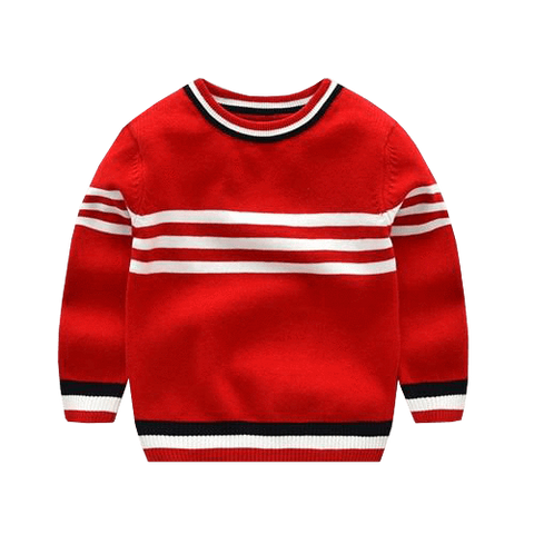 Petite Bello Sweater Red / 5-6T Striped Knitted Sweater