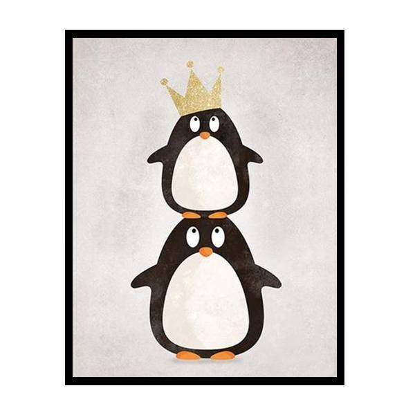 Petite Bello wall decor 2 penguins with crow / 8X10 inch No Frame Cartoon Penguin Canvas Art Print