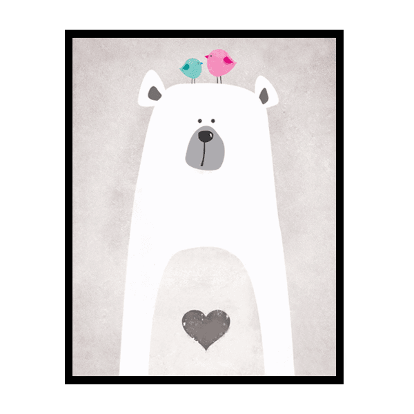 Petite Bello wall decor 8X10 inch No Frame Cute Polar Bear Canvas Art Print