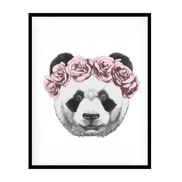 Panda Drawing With Rose Canvas Art Print Petite Bello