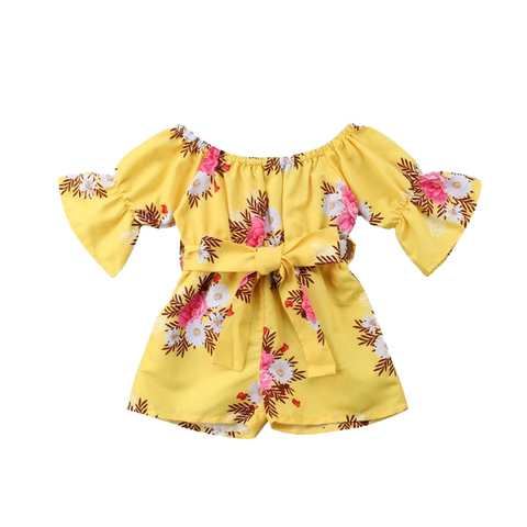 Petite Bello Yellow / 6-12 Months Flower Halt Flare Romper