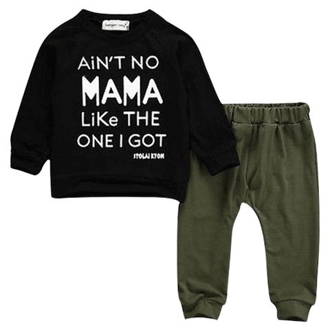 Petite Belo Clothing Set 2-3T Ain't No Mama Green Clothing Set