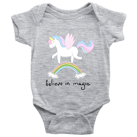 teelaunch Bodysuit Baby Bodysuit / Heather Grey / NB Unicorn Magic Black Bodysuit