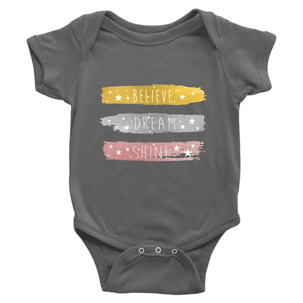 teelaunch Bodysuit Baby Onesie / Asphalt / NB Believe Dream Shine Bodysuit