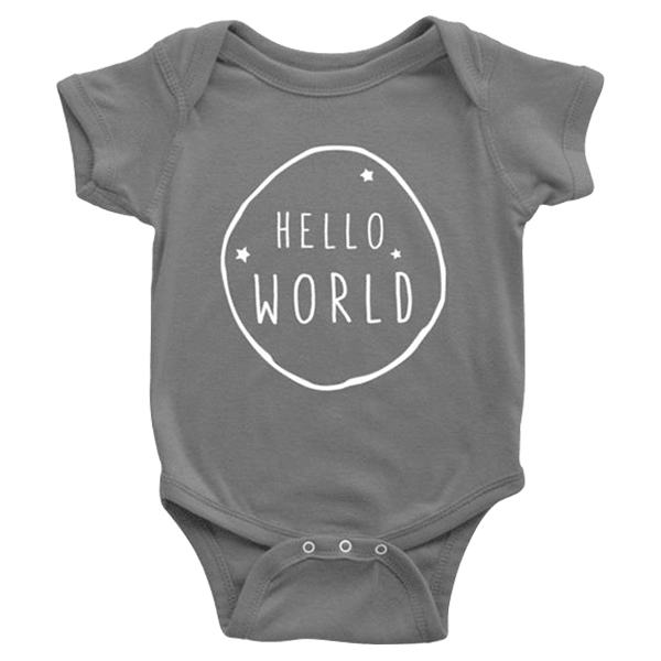 teelaunch Bodysuit Baby Onesie / Asphalt / NB Hello World White Bodysuit