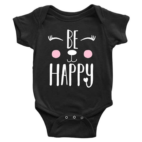 teelaunch bodysuit Baby Onesie / Black / NB Be Happy Bodysuit