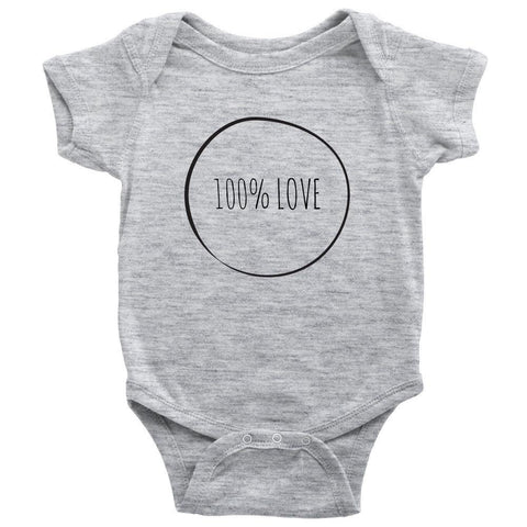 teelaunch Bodysuit Baby Onesie / Heather Grey / NB 100% Love Bodysuit