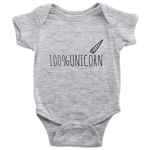 teelaunch Bodysuit Baby Onesie / Heather Grey / NB 100% Unicorn Bodysuit