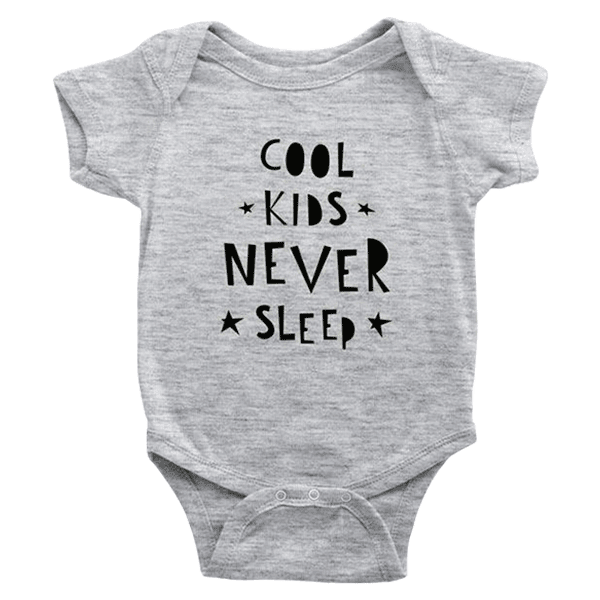 teelaunch Bodysuit Baby Onesie / Heather Grey / NB Cool Kids Never Sleep Bodysuit